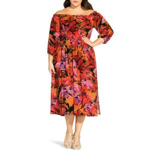 CITY CHIC 18 Sunrise Off the Shoulder Midi Dress